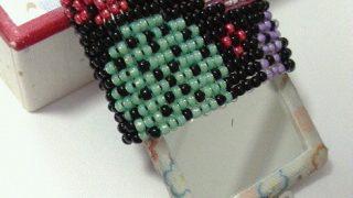 【手芸祭】和柄ビーズ織りのミラーキーホルダーを作ってみた。